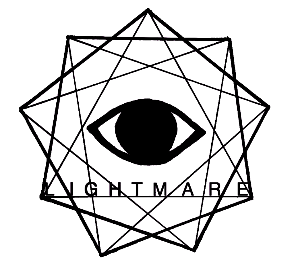 lightmare logo, nine pointed star with an eye at the center, the word lightmare across the lower part